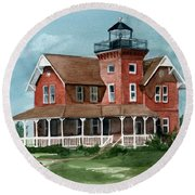 Sea Girt Lighthouse Round Beach Towel