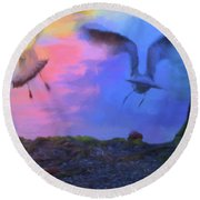 Sea Gull Abstract Round Beach Towel