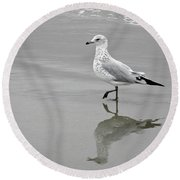 Sea Gull Walking In Surf Round Beach Towel