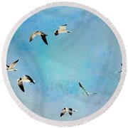 Round Beach Towel featuring the photograph Sea Gulls In Flight by Athala Carole Bruckner