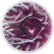 Round Beach Towel featuring the digital art Sea Heart by Linda Sannuti