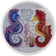 Sea Horses In Love Round Beach Towel