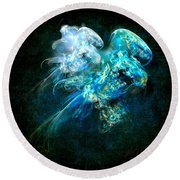 Sea Jellyfish Round Beach Towel