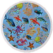 Sea Life Abstract Round Beach Towel by Gabriella Weninger - David