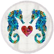 Sea Lovers - Seahorse Beach Art By Sharon Cummings Round Beach Towel