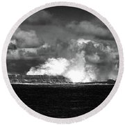 Round Beach Towel featuring the photograph Sea Meets Sky by Nareeta Martin