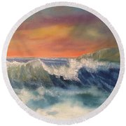 Round Beach Towel featuring the painting Sea Mist by Denise Tomasura