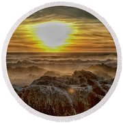Sea Mist Sunset Round Beach Towel