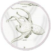 Sea Monsters, Kraken And Moby Dick Round Beach Towel by Juan Bosco