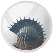 Round Beach Towel featuring the digital art Sea Monsters by Phil Perkins