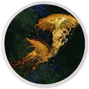 Sea Nettle Jellies Round Beach Towel