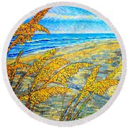 Sea Oats Dual#2 Round Beach Towel