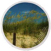 Sea Oats And Sand Fence Round Beach Towel by John Harding