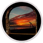 Sea Oats And Sunset Round Beach Towel