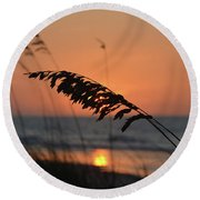 Sea Oats At Sunrise Round Beach Towel by Gordon Mooneyhan