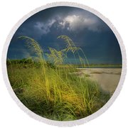 Sea Oats In The Storm Round Beach Towel