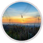 Sea Oats Sunrise Round Beach Towel by David Smith