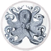 Sea Octopus Coastal Decor Round Beach Towel