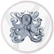 Sea Octopus Coastal Decor Round Beach Towel
