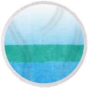 Sea Of Blues Round Beach Towel by Linda Woods