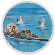 Round Beach Towel featuring the painting Sea Otter And Guardians by Phyllis Kaltenbach