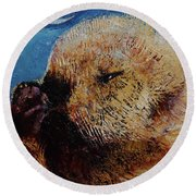 Sea Otter Pup Round Beach Towel