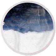 Sea, Satellite - Coast Line On Blue Ocean Illusion Round Beach Towel