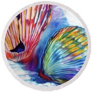 Sea Shell Abstract II Round Beach Towel