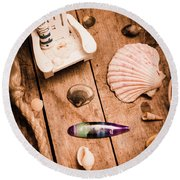 Sea Shell Decking Round Beach Towel