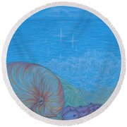 Round Beach Towel featuring the drawing Sea Shore by Kim Sy Ok