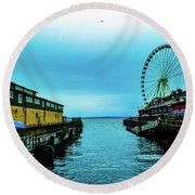 Sea Side, Seattle 2 Round Beach Towel