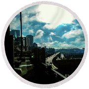 Sea Side, Seattle  Round Beach Towel