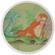 Sea Siren, Resting -- Whimsical Mermaid Drawing Round Beach Towel