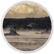 Sea Smoke At Rockland Breakwater Light Round Beach Towel