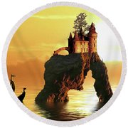 Sea Stack Castle Round Beach Towel