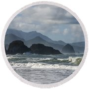 Sea Stacks And Surf Round Beach Towel