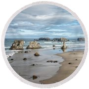 Sea Stacks Round Beach Towel
