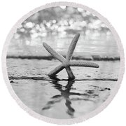 Sea Star Bw Round Beach Towel