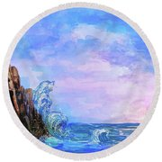 Round Beach Towel featuring the painting Sea Stories 2  by Andrzej Szczerski