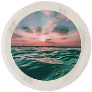 Sea Sunset Circle Round Beach Towel