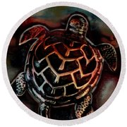 Sea Turtle 001 Round Beach Towel