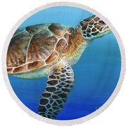 Sea Turtle 2 Of 3 Round Beach Towel