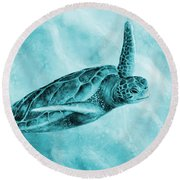 Sea Turtle 2 On Blue Round Beach Towel