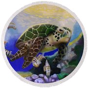 Sea Turtle Acrylic Painting Round Beach Towel