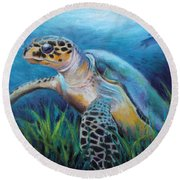 Sea Turtle Cove Round Beach Towel