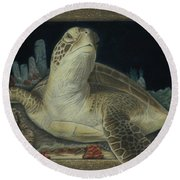 Round Beach Towel featuring the painting Sea Turtle by Jennifer Watson