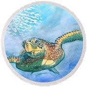 Sea Turtle Series #2 Round Beach Towel
