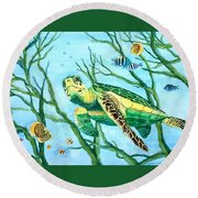 Sea Turtle Series #3 Round Beach Towel