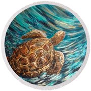 Sea Turtle Wave Guam Round Beach Towel
