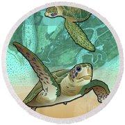Sea Turtles Near Beaufort, Sc Round Beach Towel